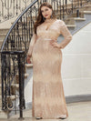 Women'S Deep V-Neck Sequin Evening Dress With Long Sleeve-Rose Gold 8