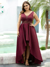 Women'S V-Neck High Low Cocktail Party Maxi Dress-Burgundy 9