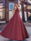 Women'S V-Neck High Low Cocktail Party Maxi Dress-Burgundy 2