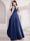 Plus Size Women'S V-Neck High Low Cocktail Party Maxi Dress-Navy Blue  2
