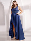 Plus Size Women'S V-Neck High Low Cocktail Party Maxi Dress-Navy Blue  3