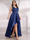 Plus Size Women'S V-Neck High Low Cocktail Party Maxi Dress-Navy Blue  4
