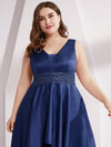 Plus Size Women'S V-Neck High Low Cocktail Party Maxi Dress-Navy Blue  5