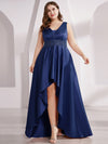 Plus Size Women'S V-Neck High Low Cocktail Party Maxi Dress-Navy Blue  1
