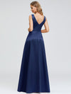 Women'S V-Neck High Low Cocktail Party Maxi Dress-Navy Blue 2