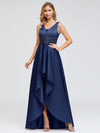 Women'S V-Neck High Low Cocktail Party Maxi Dress-Navy Blue 1