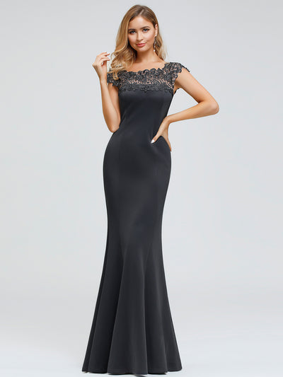 Women's Round Neckline Fishtail Evening Dress