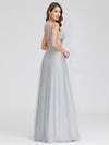 V-Neck Sleeveless Party Evening Dress-Grey 2