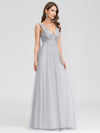 V-Neck Sleeveless Party Evening Dress-Grey 3