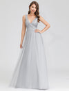 V-Neck Sleeveless Party Evening Dress-Grey 4