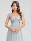 V-Neck Sleeveless Party Evening Dress-Grey 5
