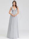 V-Neck Sleeveless Party Evening Dress-Grey 1