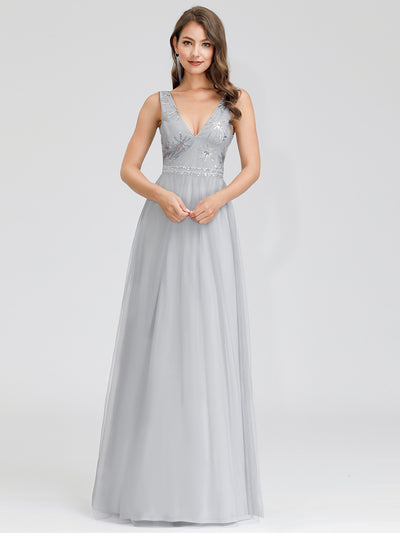 V-Neck Sleeveless Party Evening Dress