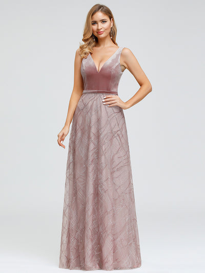 Women's V Neck Lace Evening Dress