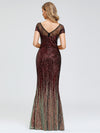 Women'S Cap Sleeve Sequin Dress Mermaid Party Dress-Burgundy 8
