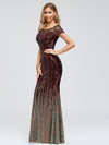 Women'S Cap Sleeve Sequin Dress Mermaid Party Dress-Burgundy 9