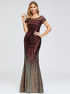 Women'S Cap Sleeve Sequin Dress Mermaid Party Dress-Burgundy 7