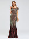 Women'S Cap Sleeve Sequin Dress Mermaid Party Dress-Gold 14