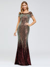 Women'S Cap Sleeve Sequin Dress Mermaid Party Dress-Gold 11