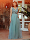 Women'S Elegant V Neck Floor Length Bridesmaid Dress-Dusty Blue 2