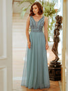 Women'S Elegant V Neck Floor Length Bridesmaid Dress-Dusty Blue 3