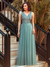 Women'S Elegant V Neck Floor Length Bridesmaid Dress-Dusty Blue 5
