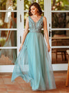 Women'S Elegant V Neck Floor Length Bridesmaid Dress-Dusty Blue 7