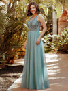 Women'S Elegant V Neck Floor Length Bridesmaid Dress-Dusty Blue 8