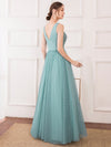 Women'S Elegant V Neck Floor Length Bridesmaid Dress-Dusty Blue 12