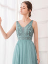 Women'S Elegant V Neck Floor Length Bridesmaid Dress-Dusty Blue 15