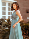 Women'S Elegant V Neck Floor Length Bridesmaid Dress-Dusty Blue 9