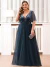Women'S V-Neck Short Sleeve Floor Length Evening Dress-Dusty Navy 9