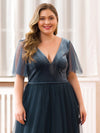 Women'S V-Neck Short Sleeve Floor Length Evening Dress-Dusty Navy 10