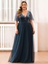 Women'S V-Neck Short Sleeve Floor Length Evening Dress-Dusty Navy 6