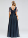 Women'S V-Neck Short Sleeve Floor Length Evening Dress-Dusty Navy 2