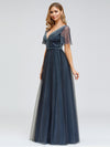 Women'S V-Neck Short Sleeve Floor Length Evening Dress-Dusty Navy 3