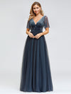 Women'S V-Neck Short Sleeve Floor Length Evening Dress-Dusty Navy 4