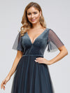 Women'S V-Neck Short Sleeve Floor Length Evening Dress-Dusty Navy 5