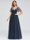 Women'S V-Neck Short Sleeve Floor Length Evening Dress-Dusty Navy 1