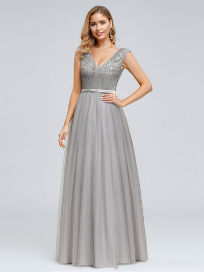 Women's Elegant V-Neck Sequin Dress Evening Gowns