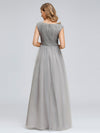 Women'S Elegant V-Neck Sequin Dress Evening Gowns-Grey  2