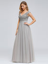 Women'S Elegant V-Neck Sequin Dress Evening Gowns-Grey  3