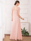 Women'S Elegant A-Line Ruffles Sleeve Bridesmaid Dress-Pink 2