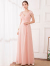 Women'S Elegant A-Line Ruffles Sleeve Bridesmaid Dress-Pink 3