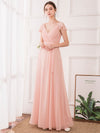 Women'S Elegant A-Line Ruffles Sleeve Bridesmaid Dress-Pink 4