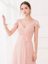 Women'S Elegant A-Line Ruffles Sleeve Bridesmaid Dress-Pink 5
