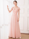 Women'S Elegant A-Line Ruffles Sleeve Bridesmaid Dress-Pink 1