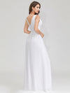Women'S V-Neck Sleeveless Evening Maxi Dress-White 2