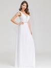 Women'S V-Neck Sleeveless Evening Maxi Dress-White 3
