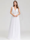 Women'S V-Neck Sleeveless Evening Maxi Dress-White 4